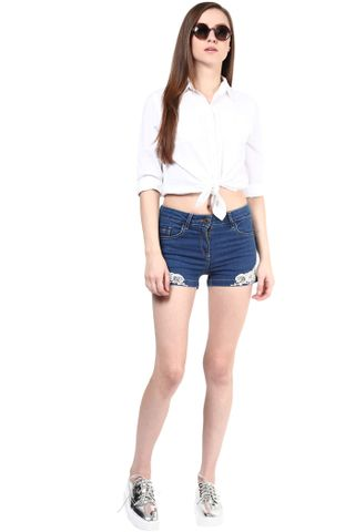 Blue Shorts Whit Lace At Bottom/SHF350112