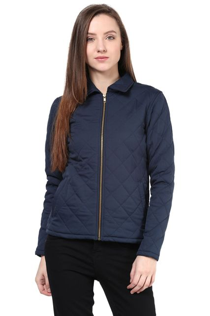 Quilted Women'S Jacket In Blue Color With Front Zipper/JKF450188