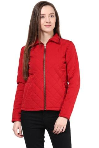 Quilted Women'S Jacket In Red Color With Front Zipper/JKF450187