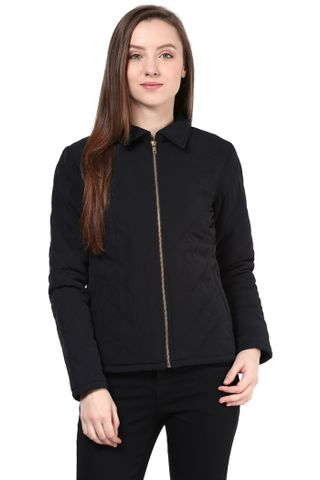 Quilted Women'S Jacket In Black Color With Front Zipper/JKF450186