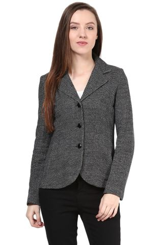 Knit Jacket In Black Color With Lapel Collar/JKF450148