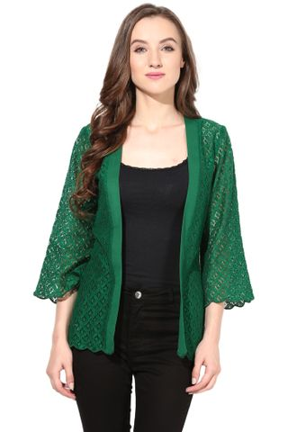 Light Weight Shrug In Lace Fabric Green Color/JKF450092
