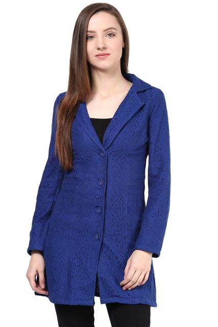 Diamond Lace Light Weight Jacket In Blue Color/JKF450056