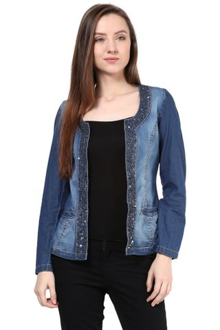 Blue Denim Jacket With Emblishment At Front/JKF400288
