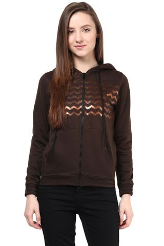Hooded Sweatshirt In Brown Color With Distressed Print     /SSF460134