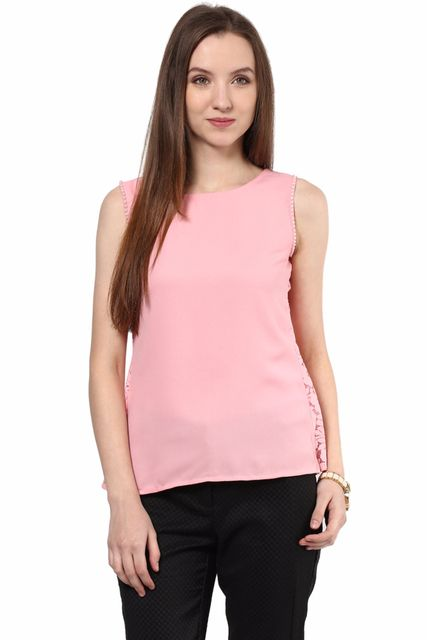Top In Pink Color With Back Slit/TSF400433