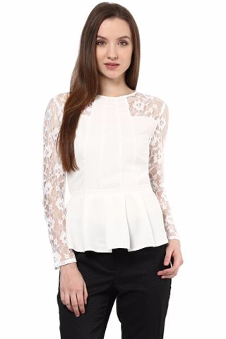 Casual Top With Lace At Yoke/TSF400309
