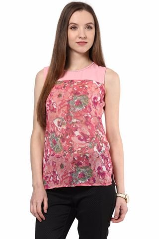 Tunic In Multi Color Print With Solid Fabric At Yoke/TSF400483