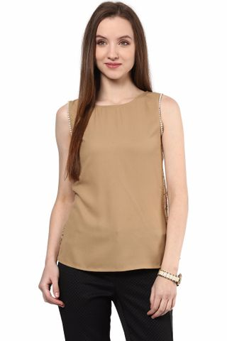 Top In Brown Color With Back Slit/TSF400435