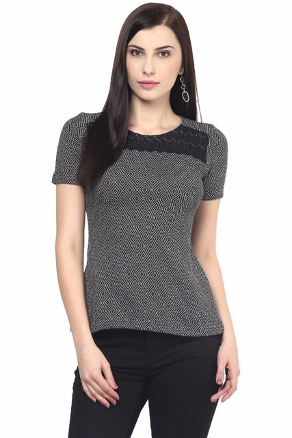 Womens Casual Top In Black Color With Lace At Yoke/TSF400594
