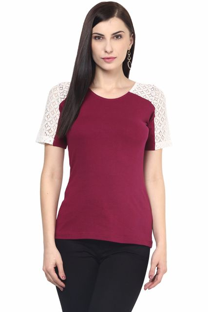 Womens Casual Top In Marsala Color With Lace At Shoulder And Sleeve Yoke/TSF400590