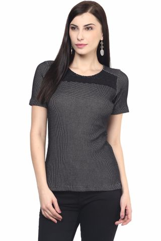 Womens Casual Top In Black Color With Lace At Yoke/TSF400593