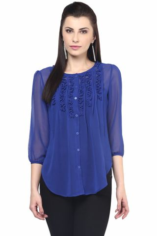 Womens Casual Shirt In Blue Color/TSF400580