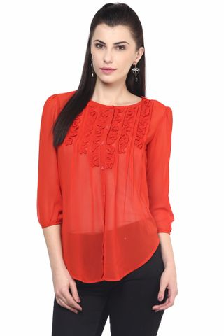 Womens Casual Shirt In Orange Color/TSF400581