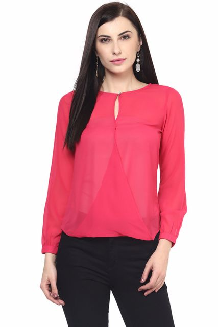 Womens Overlapped Front Detail Top In Fuchsia Color High To Low Body/TSF400566