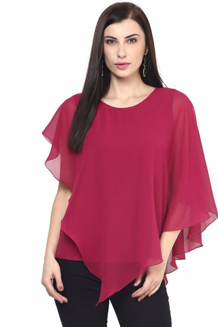 Womens Flounce Top In Marsala Color/TSF400564