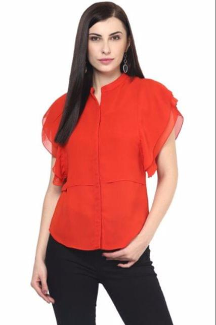 Womens Double Layer Shirt In Orange Color/TSF400563