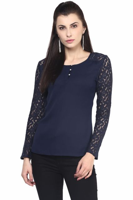 Casual Top In Navy Blue Color With Lace At Sleeves/TSF400526