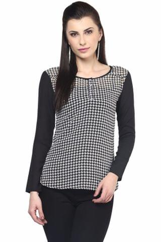 Printed Shirt With Solid Black Sleeve/TSF400512
