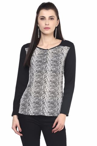 Printed Shirt With Solid Black Sleeve/TSF400511