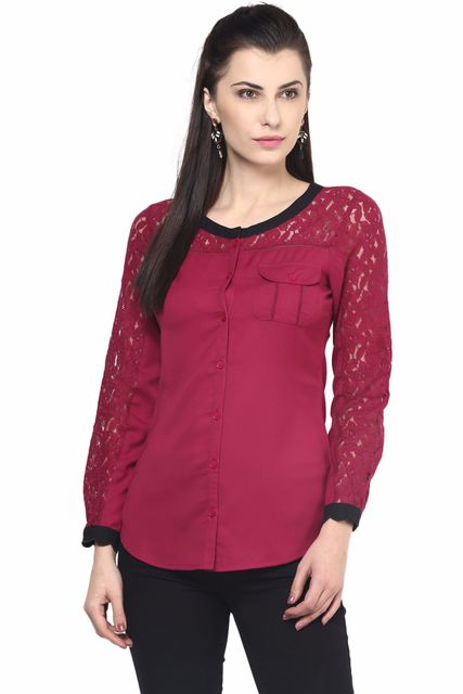 Casual Shirt In Marsala Color With Lace At Sleeve And Yoke Part/TSF400510