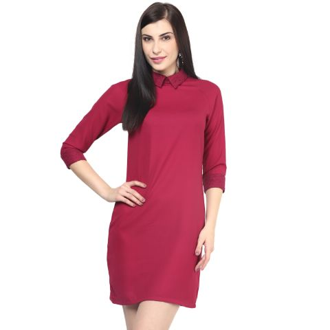 Womens Bodycon Dress In Marsala Color With Lace At Collar And Cuff/DRF500397