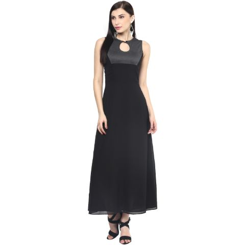 Womens Maxi Dress In Black Color/DRF500398