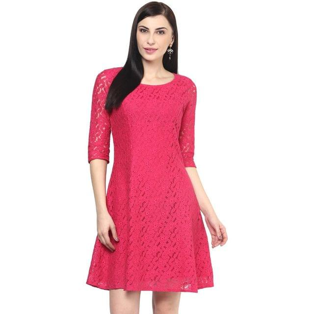 Lace Short Dress In Fuchsia Color/DRF500371