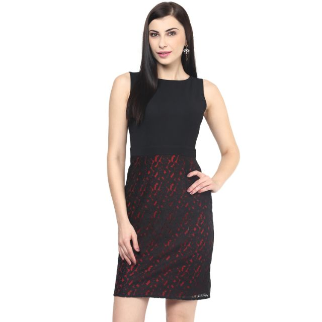 Bodycon Dress In Black With Lace At Bottom Part/DRF500366