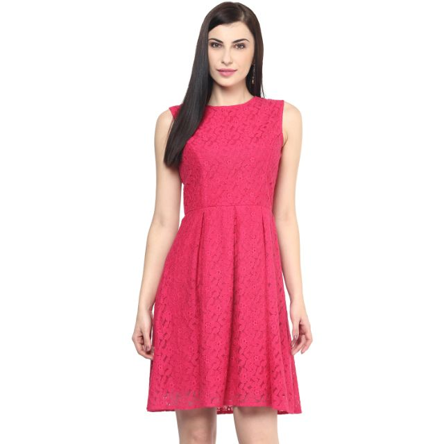Lace Short Dress In Fuchsia Color/DRF500369