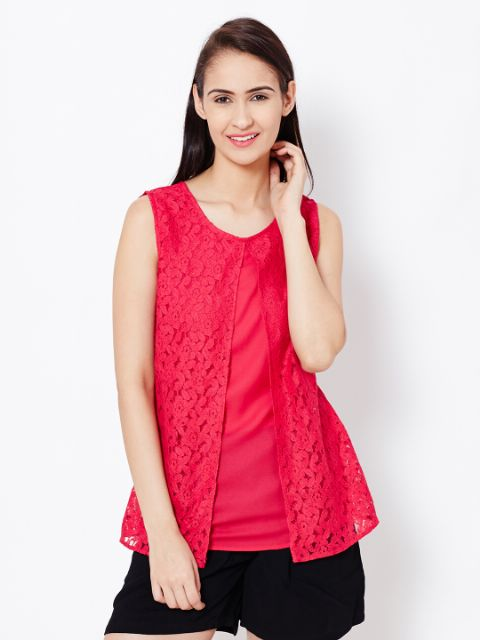 Womens Casual Top In Fuchsia Color With Lace At Front Part/TSF400560