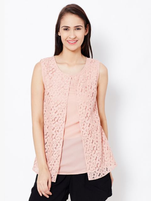 Womens Casual Top In Peach Color With Lace At Front Part/TSF400559