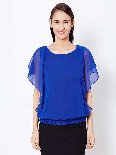 Womens Balloon Top In Navy Blue Color/TSF400571