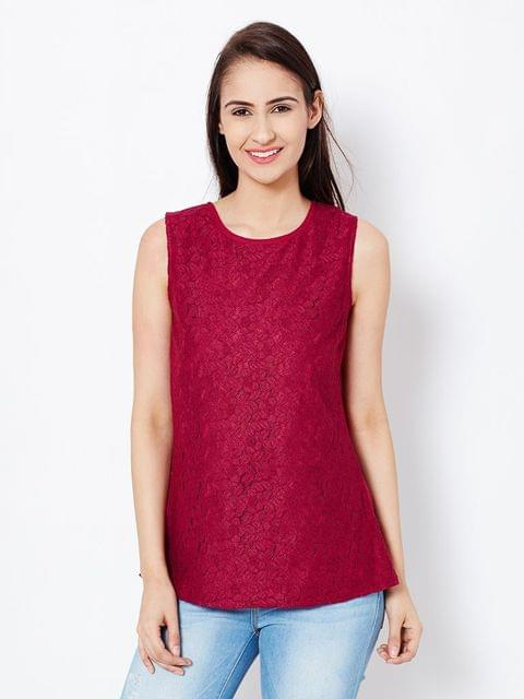 Womens Party Wear Top In Marsala Color With Back Slit And Lace At Front Part/TSF400557