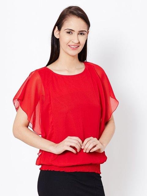 Womens Balloon Top In Red Color/TSF400570