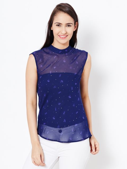 Womens Top In Blue Color With Cowl At Back Part/TSF400574