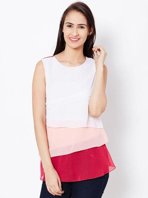 Womens Casual Layered Top In Fuchsia Color/TSF400575
