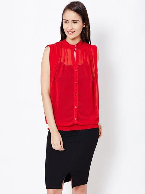 Womens Boxy Shirt In Red Color/TSF400577