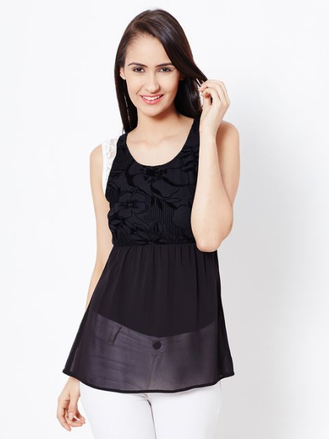 Womens Top In Black Color With Lace At Armhole/TSF400592