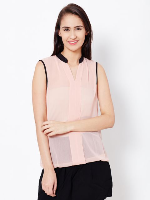 Womens Casual Top In Peach Color With Front Plackets Detail/TSF400597