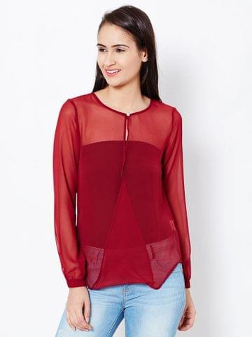 Womens Overlapped Front Detail Top In Maroon Color High To Low Body/TSF400596
