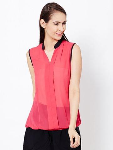 Womens Casual Top In Fuchsia Color With Front Plackets Detail/TSF400582