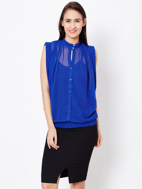 Womens Boxy Shirt In Navy Blue Color/TSF400578