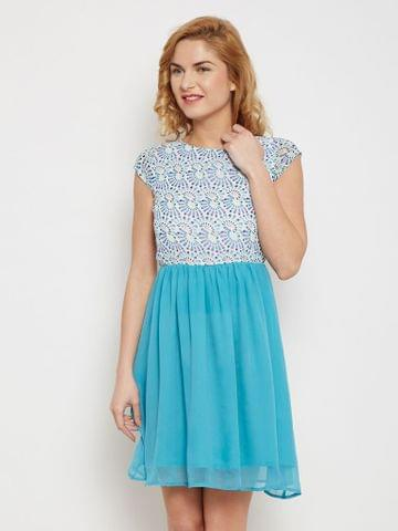 Skater Dress In Blue Print With Gathers At Waist /DRF500435