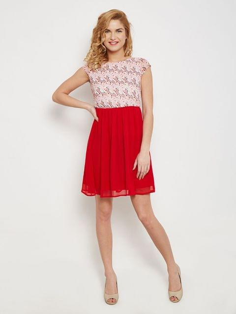 Skater Dress In Red Print With Gathers At Waist /DRF500436