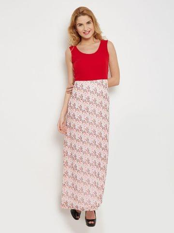 Maxi Dress In Red Print With Solid Red Body Part And Side Slits /DRF500443