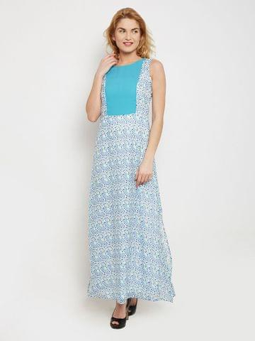 Maxi Dress In Blue Print With Solid Blue Front Panelled Body Part /DRF500439