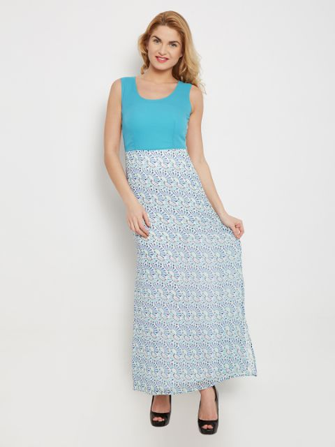 Maxi Dress In Blue Print With Solid Blue Body Part And Side Slits /DRF500444