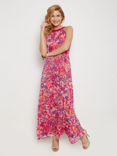 Maxi Deess In Fuchsia Print With Back Overlap Detail /DRF500453