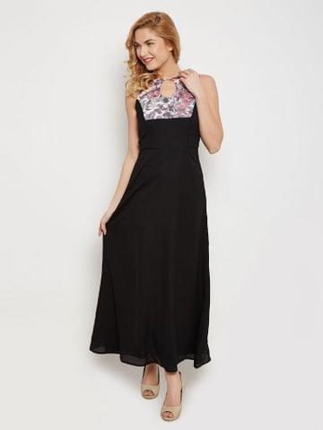 Maxi Dress In Black Color With Printed  Body Part Detail /DRF500456